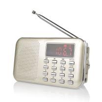 Raddy RF23 AM FM Portable Pocket Radio MP3 Music Player, Lightweight and Ultra Thin, Support Micro TF Card USB Disk, Flashlight (Gold)