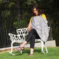 Bebe au Lait Premium Cotton Nursing Cover, Lightweight and Breathable Cotton, Open Neckline, One Size Fits All - Nest