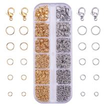 PandaHall Elite About 720 Pcs 304 Stainless Steel 4mm 5mm 6mm 7mm 8mm Jump Rings and 20 Pcs Lobster Claw Clasps for Jewelry Making Silver and Gold
