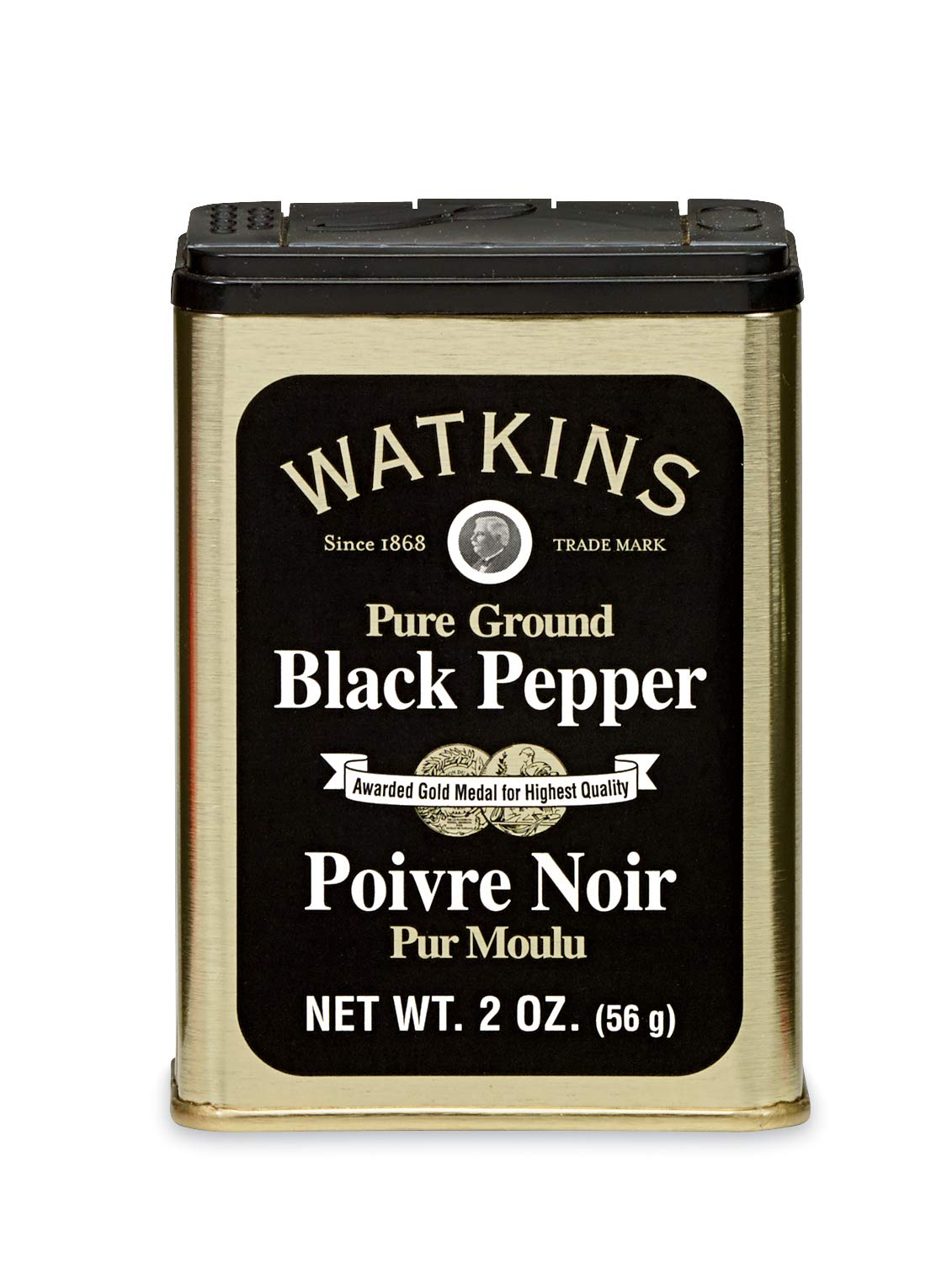 Watkins All Natural Gourmet Spice Tin, Granulated Black Pepper, 2 Ounce (Pack of 12)