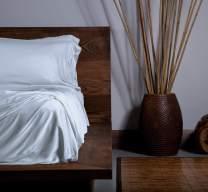 SHEEX Ecosheex Bamboo Origin Sheet Set with 2 Pillowcases, Soft Luxury Sateen, Light Blue, Queen