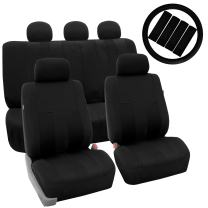 FH Group FB036115 Striking Striped Seat Covers (Black) Full Set with Gift – Universal Fit for Cars Trucks & SUVs
