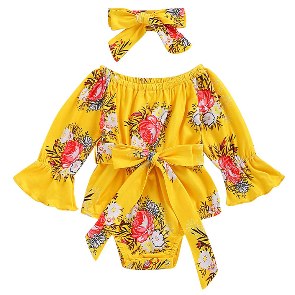 Mailza Newborn Baby Girl Flare Tunic Off-Shoudler Clothes Ruffled Flare Tunic Bowknot Romper and Headband Stripe Outfits