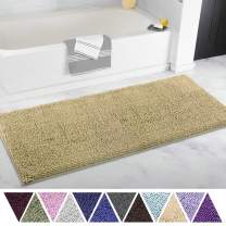 ITSOFT Non Slip Shaggy Chenille Soft Microfibers Runner Large Bath Mat for Bathroom Rug Water Absorbent Carpet, Machine Washable, 21 x 47 Inches Beige