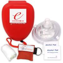 Ever Ready First Aid CPR Rescue Mask, Adult/Child Pocket Resuscitator, Hard Case with Wrist Strap, Gloves, Wipes and CPR Face Shield Keychain