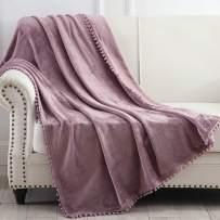 """NordECO HOME Flannel Throw Blanket - Soft Cozy Warm Blanket with Pompom Fringe for Couch Bed Sofa Chair, 50"""" x 60"""", Light Purple"""