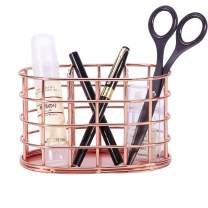 Simmer Stone Pen Holder Organizer, Metal Pencil Cup with 3 Dividers, Decorative Desk Stationery Organizer Caddy for Office Supplies and Accessories, Rose Gold