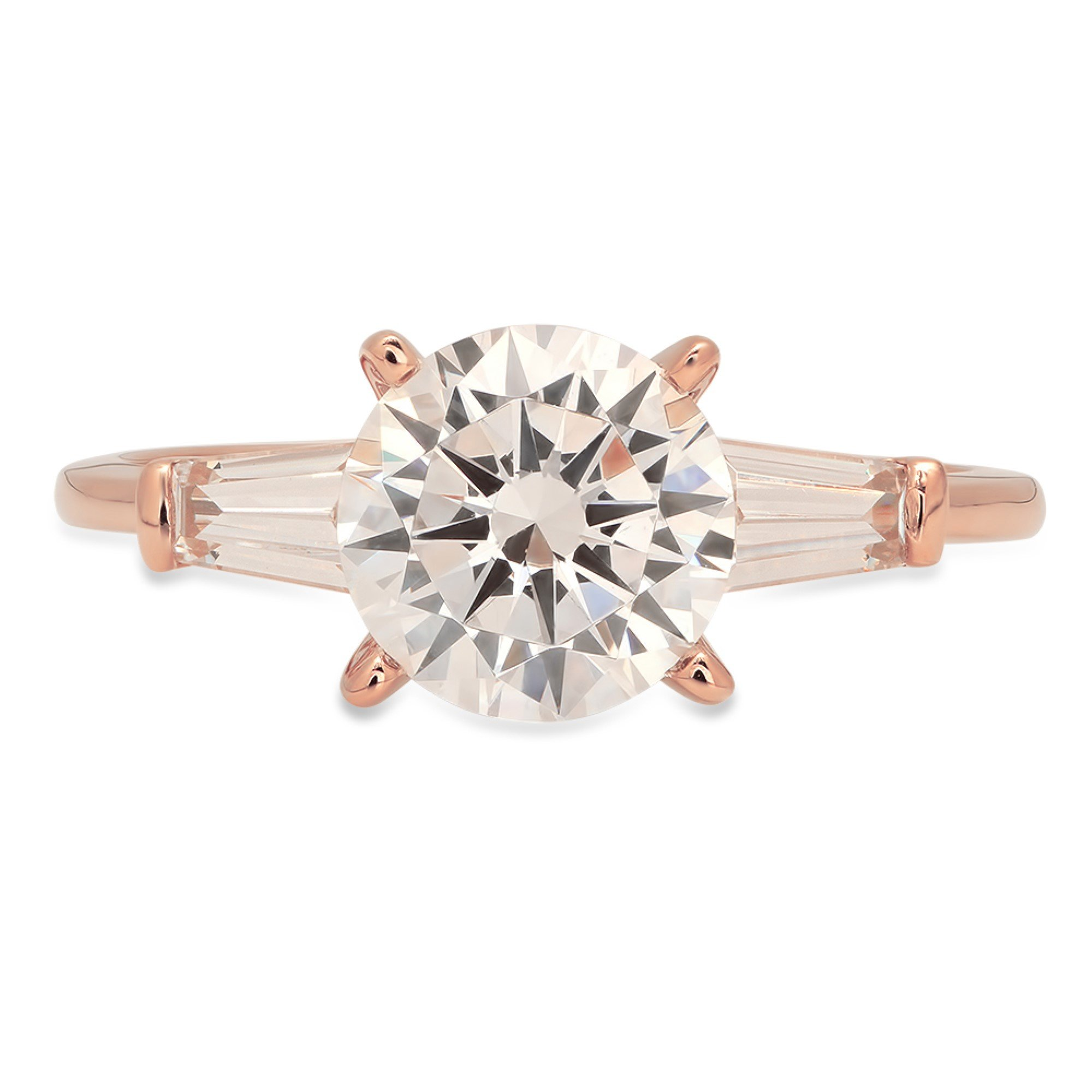 Brilliant Round Baguette Cut Solitaire 3 Stone Statement Engagement Wedding Anniversary Promise Bridal Ring Solid 14K Rose Gold for Women 2.2ct