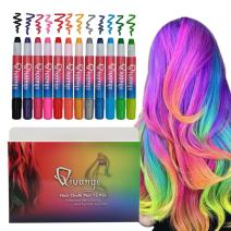 Qivange Hair Chalk Pens 12 Colors for Girls Kids Birthday Gifts Toys Paint Marker Pens, Bright Temporary Washable Hair Color Non-Toxic Hair Dye for Face Paint, Cosplay Birthday Makeup DIY Party