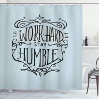 """Ambesonne Modern Shower Curtain, Work Hard Stay Humble Motivational Words Theme Inspirational Display, Cloth Fabric Bathroom Decor Set with Hooks, 70"""" Long, Charcoal Grey"""