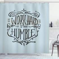 "Ambesonne Modern Shower Curtain, Work Hard Stay Humble Motivational Words Theme Inspirational Display, Cloth Fabric Bathroom Decor Set with Hooks, 70"" Long, Charcoal Grey"