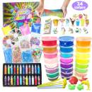 ESSENSON Slime Kit for Girls Boys - DIY Slime Supplies with 24 Colors Crystal Clear Slime, Glitter Powder, Unicorn Slime Charms, Air Dry Clay, Kids Art Craft Toys Gifts for Kids Age 6+ Year Old