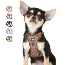 ATOPARK No-Pull Dog Harness Adjustable Reflective Vest Harness with 2 Upgraded Neck Clips,Easy Control Handle Comfortable Breathable Fashionable Harness for Small Medium Large Dog Brown S