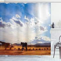 """Ambesonne Western Shower Curtain, Horse in Monument Valley Open Sky with Clouds in Arizona America Landscape Print, Cloth Fabric Bathroom Decor Set with Hooks, 84"""" Long Extra, Cream Blue"""