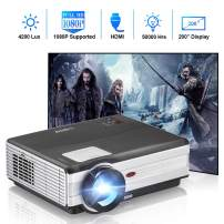Movie Projector with 4200 Lux, Upgrade Full HD Video Projector, Home Theater 1080P Supported LED Projector with Speakers, Compatible with Smartphone, Laptop, TV Stick, PS4 for Outdoor Entertainment