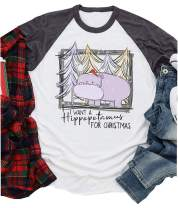 Women I Want A Hippopotamus for Christmas Baseball T-Shirt Casual Letter Print 3/4 Sleeve Graphic Tees Tops