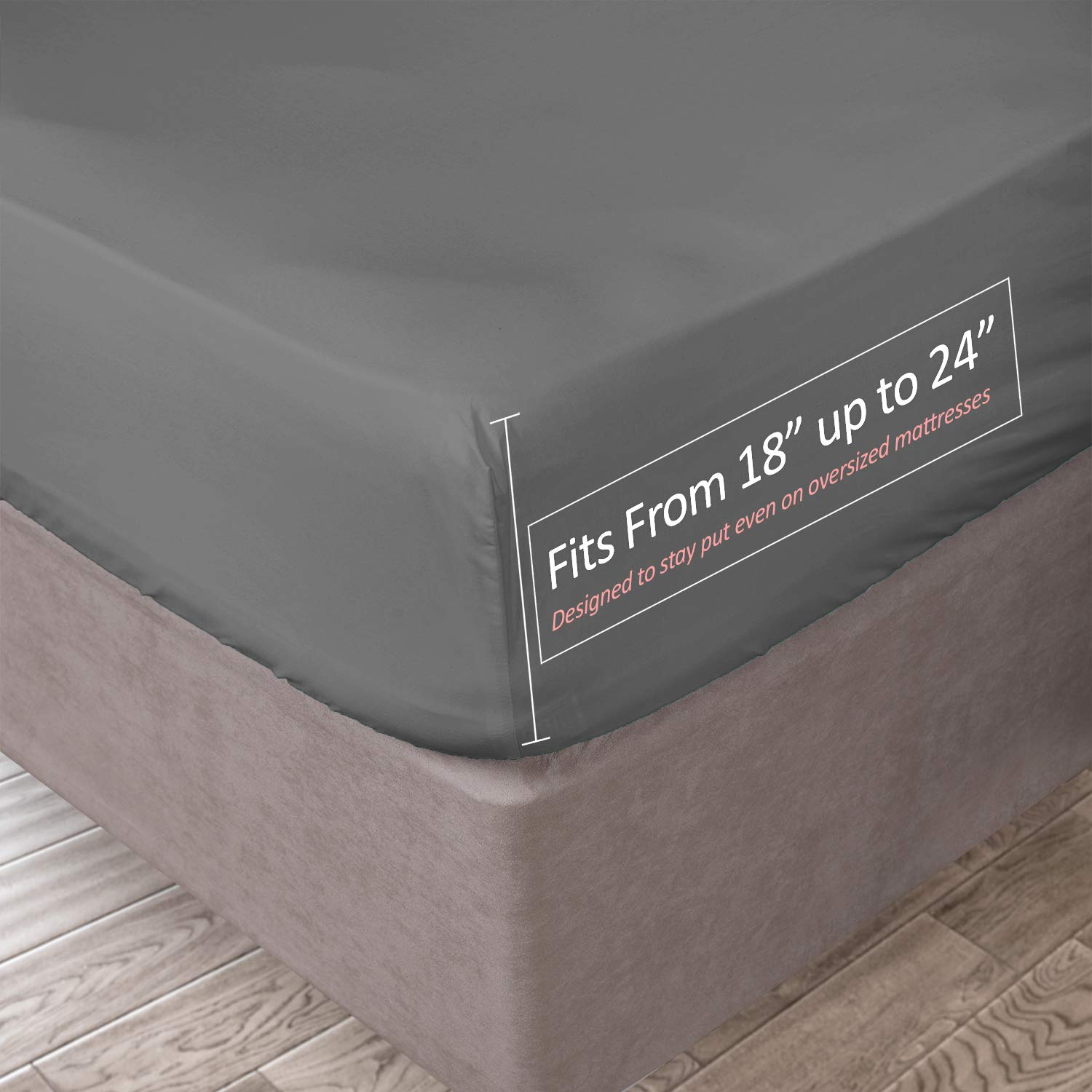 Clara Clark 21 Inch Deep Pocket Fitted Sheet 100% Soft Double Brushed Microfiber, Twin XL, Charcoal Gray