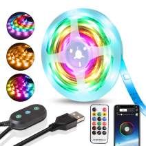 Rainbow Led Lights Strip USB Bluetooth Led Strip Lights Music Chase Effect Light Strip Waterproof 9.8FT/3M Dreamcolor Led Tape Lights Mic Sound Actived Backlights TV Behind (APP+Remote+Button Switch)