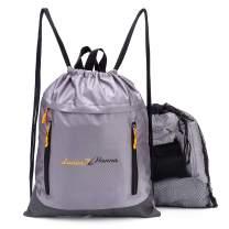 Men Women Kid Drawstring Backpack Waterproof String Sackpack Sports Athletic Gym Bag Grey