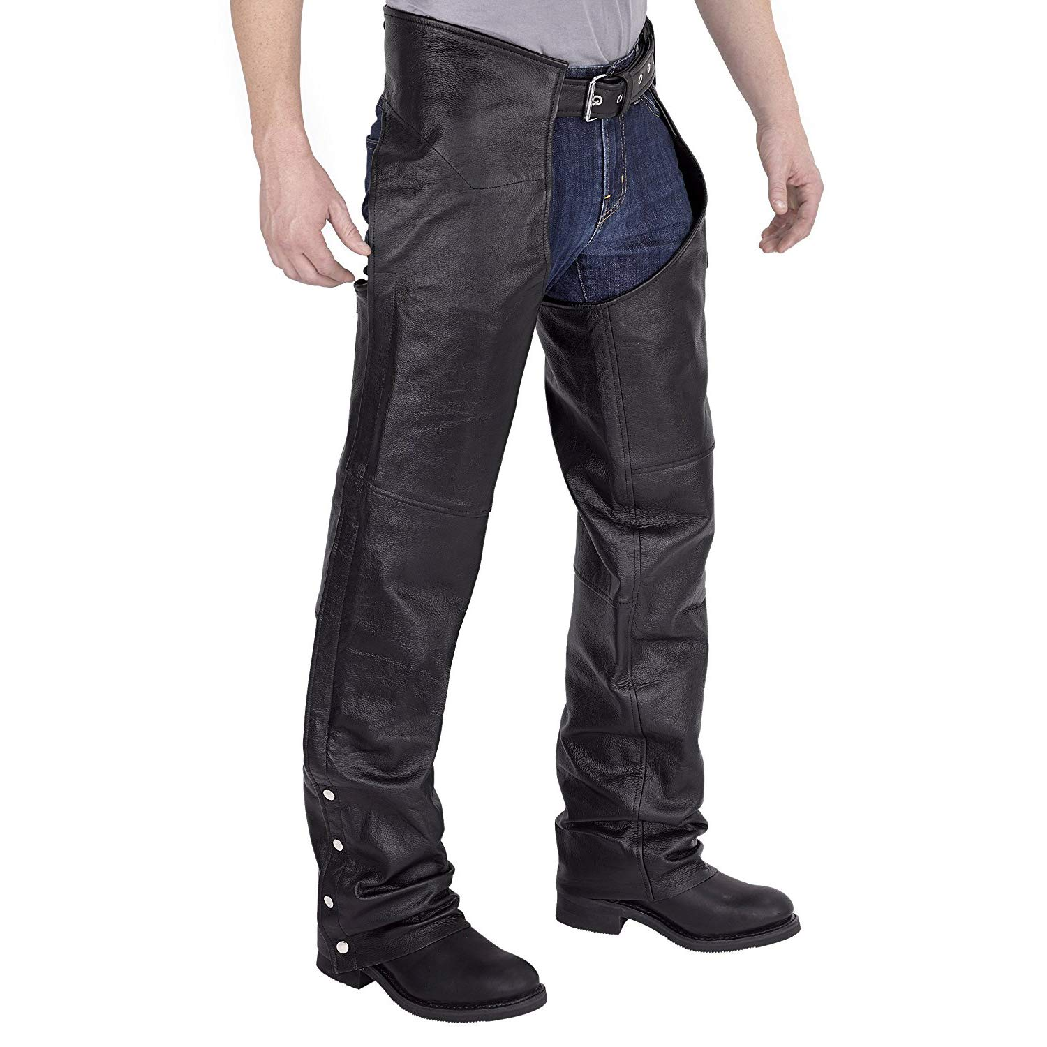 Viking Cycle Leather Chaps - Plain Motorcycle Leather Chaps For Men