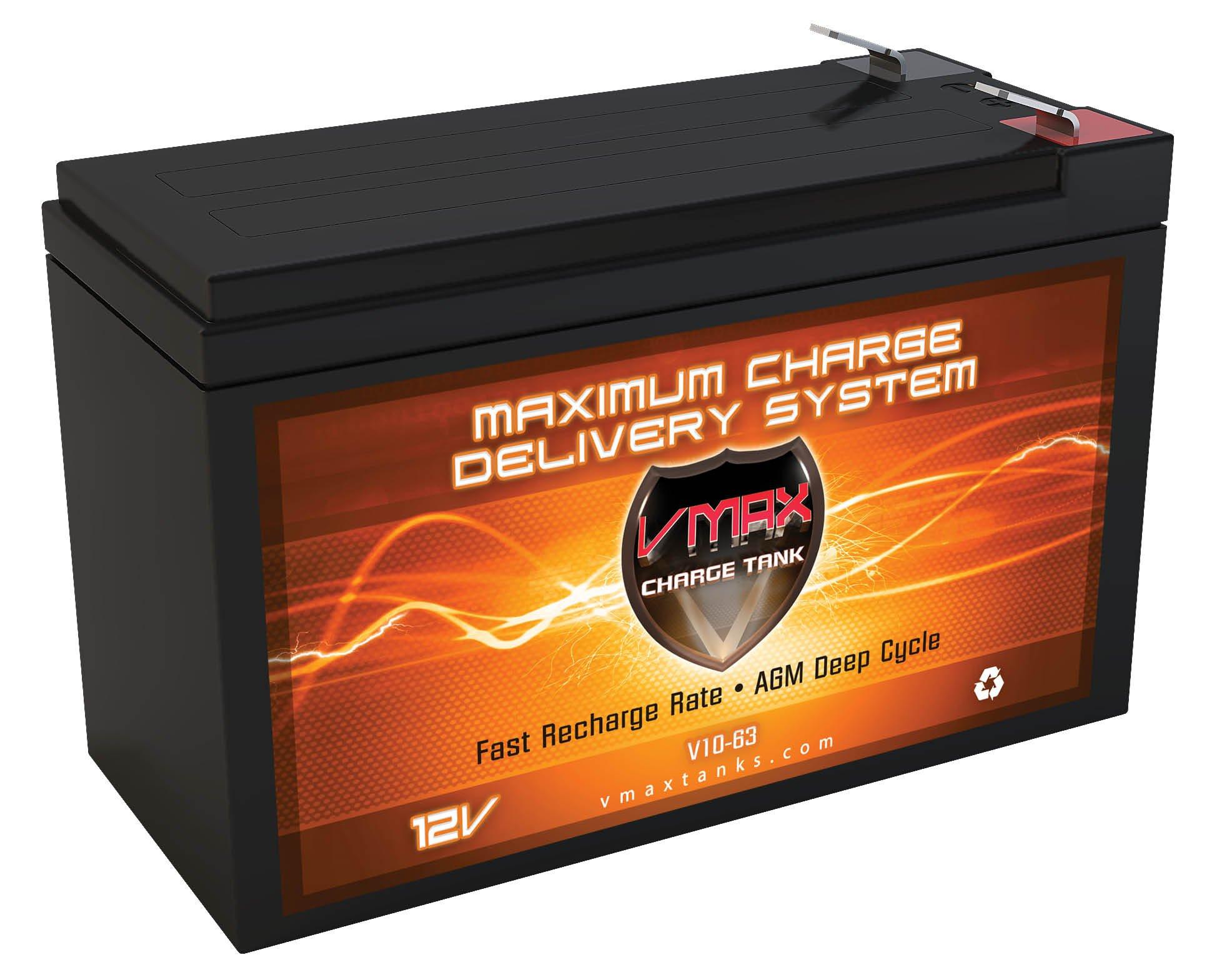VMAXTANKS V10-63 12 Volt 10AH AGM Deep Cycle 12V SLA Battery for Tripp Lite OMNI700LCD UPS System