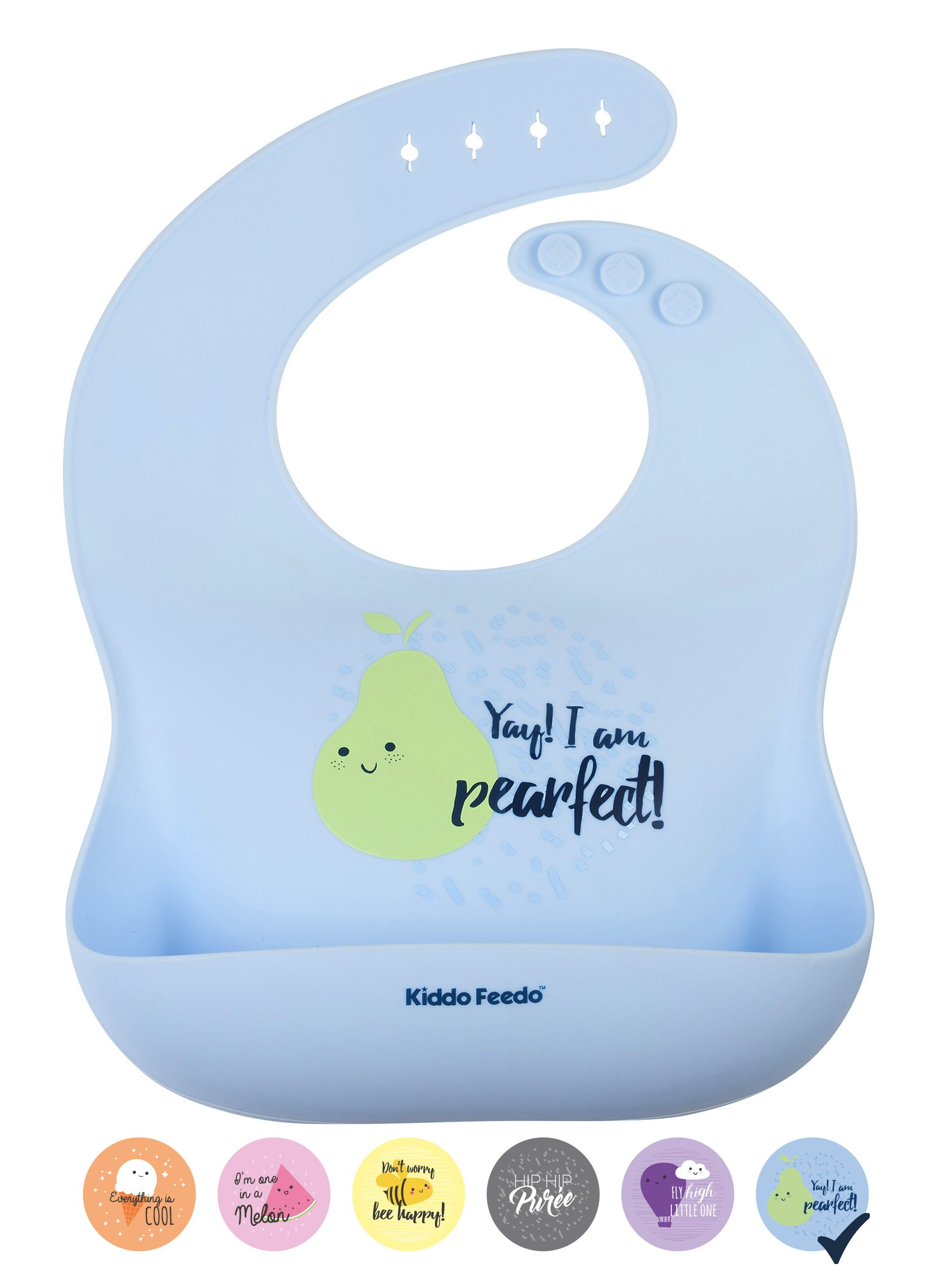 KIDDO FEEDO Baby Bib - 6 Cute Designs Available for Boy and Girl - Foldable with a Wide Catch-All Food Pouch - BPA Free - Blue