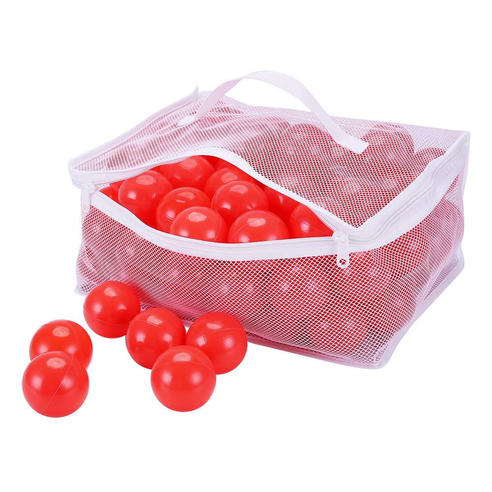 """PlayMaty Pack of 100 Ball Pit Plastic Ball Kids Swim Pit Fun Toy Red 100 Pieces Balls with Storage Bag for Baby Playhouse Pool Birthday Party Decoration (2.1""""-red)"""