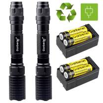 2 Sets Garberiel Police 4000 Lumens 5 Modes T6 LED Flashlight and Battery & Charger USA, Flashlights High Lumens,Flashlight Rechargeable