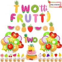 UTOPP Twotti Frutti Birthday Decorations Set,Twotti Frutti Banner Watermelon Banner 2nd Birthday Cake Topper Summer Fruit Balloons for Luau Fruit Themed Party,Second Birthday Party Supplies
