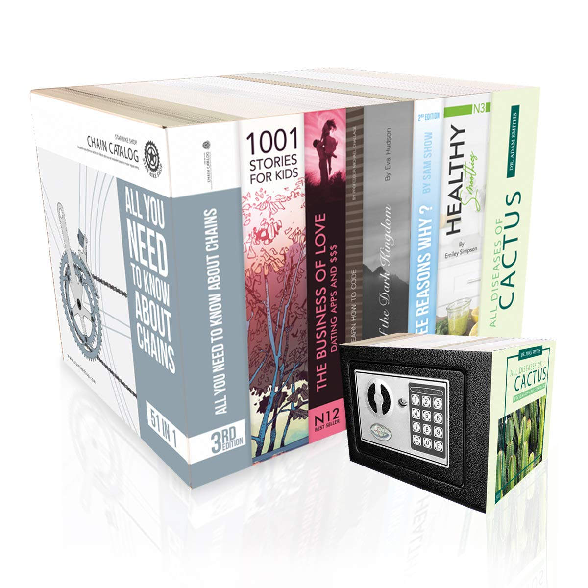 Security Safe in Books Disguise | Electronic Digital Keypad and Backup Keys | Small and Personal Perfect for Home or Office or Dorm with diversion disguise Great for hiding money, cash or valuables