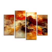 BIL-YOPIN Abstract Painting Canvas Prints Wall Art - 4 Panel Framed Oil Paintings Reproduction for Home and Office Decorations