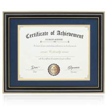 ELSKER&HOME Document Frame - High Gloss Black Wood Color Frame - Made for Certificates Sized 8.5x11 Inch with Mat and 11x14 Inch Without Mat (Double Mat, Navy with Golden Rim)