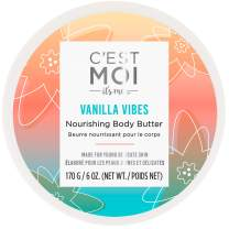 C'est Moi Vanilla Vibes Nourishing Body Butter | Gentle Moisturizer, Hydrates Skin, Clinically Tested Non-Toxic Ingredients feat. Organic Shea Butter, Coconut Oil. & Avocado Oil, EWG Verified, 6 oz