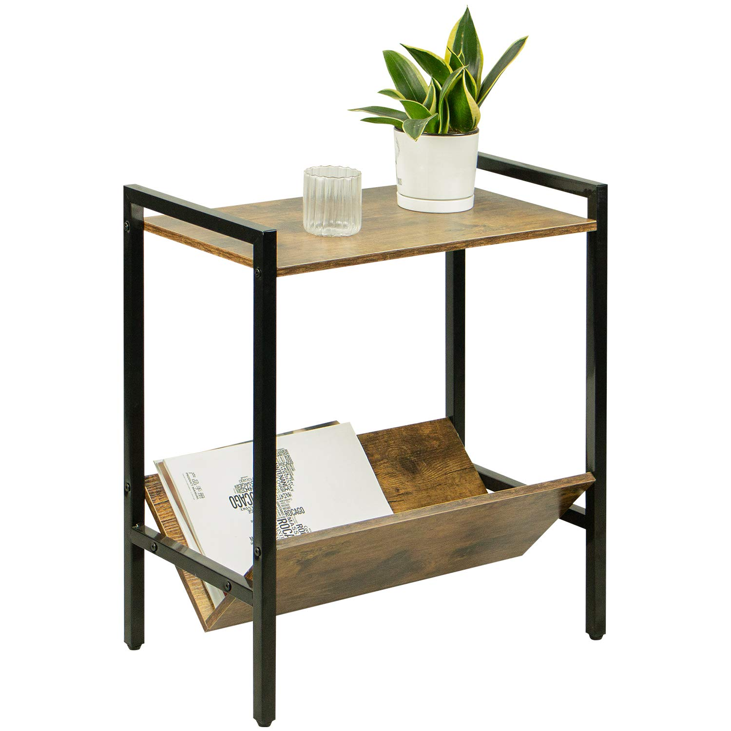 Petiture Industrial Side Table Bedroom with Storage, Side Tables Living Room,Wood End Table Storage,Wood Small Nightstands,Rustic Magzine Rack Tables, Sturdy and Easy Assembly,Brown