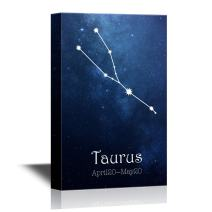 wall26 - 12 Zodiac Signs Constellation Canvas Wall Art - Taurus - Gallery Wrap Modern Home Decor | Ready to Hang - 32x48 inches