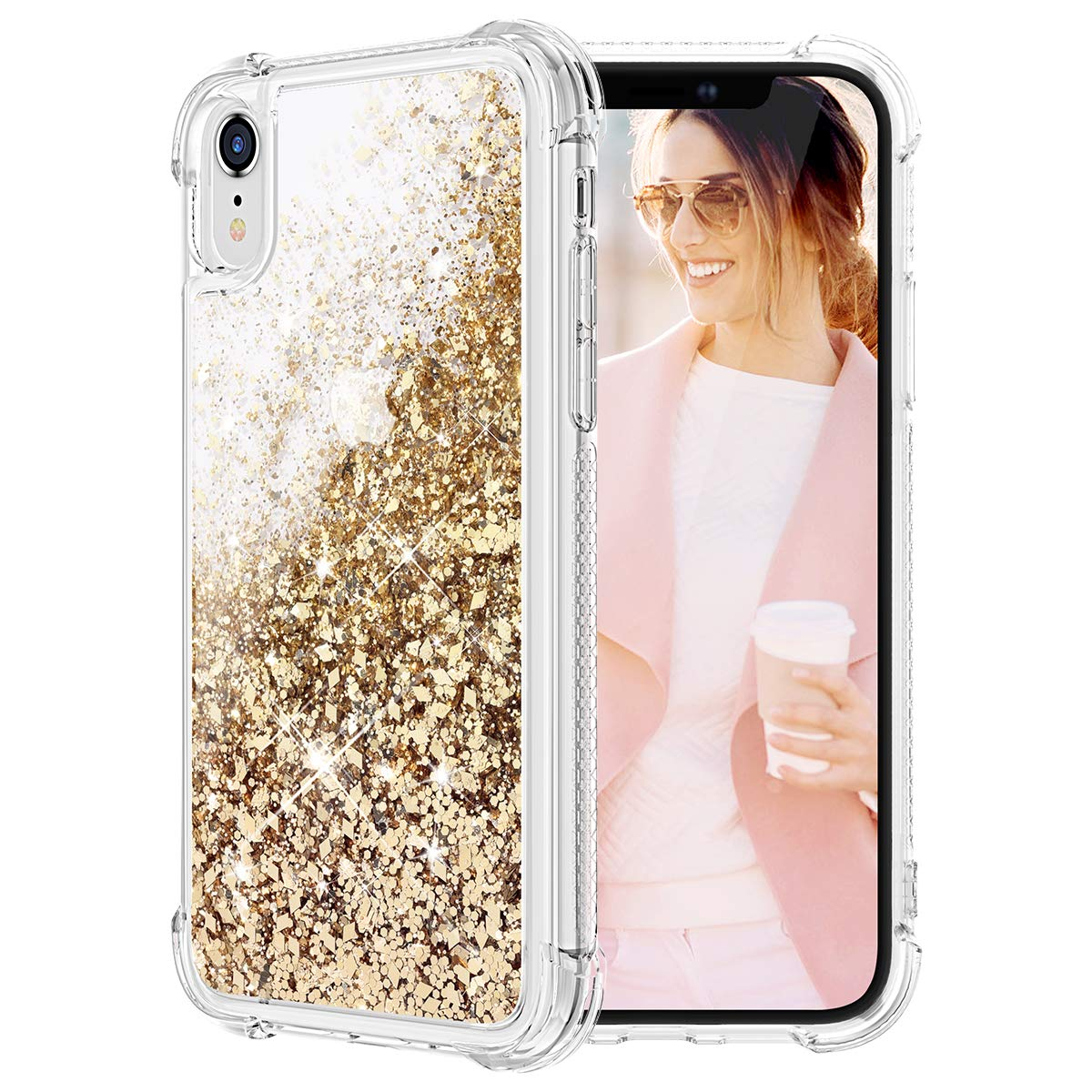 Caka Glitter Case for iPhone XR Bling Case Protective Shockproof Glitter Shinning Luxury Fashion Flowing Liquid Floating Sparkle Soft TPU Clear Case for iPhone XR (6.1 inch) (Gold)