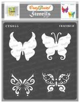 CrafTreat Layered Butterfly Stencils for Painting on Wood, Canvas, Paper, Fabric, Floor, Wall and Tile - Butterflies - 6x6 Inches - Reusable DIY Art and Craft Stencils - Butterfly Stencil Template