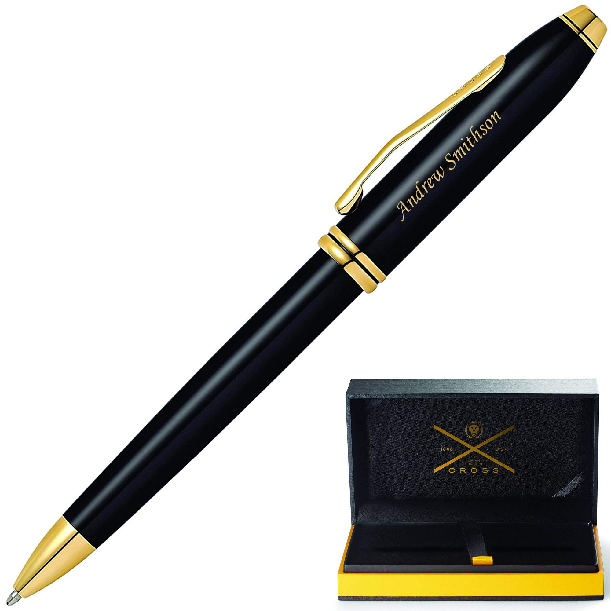 Cross Pen | Engraved/Personalized AT Cross Townsend Black with 23krt Gold ballpoint. Customized Gift Pen. Fast 1 Day Engraving