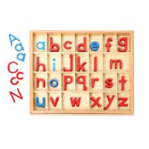 JE JOUE Montessori Wooden moveable Alphabet Objects with Box (Red & Blue)