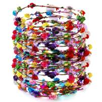 Outgeek LED Flower Crown 30 Pack LED Flower Wreath Headband Crown 10 Led Flower Headdress Party Favors Light Up Toys for Wedding Festival Holiday Halloween Christmas New Year Party