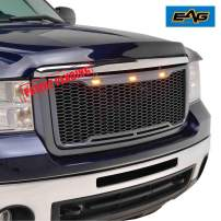 EAG Replacement Upper Grille Front Mesh Grill W/LED Lights - Charcoal Gray Fit for 07-10 GMC Sierra 2500/3500 Heavy Duty