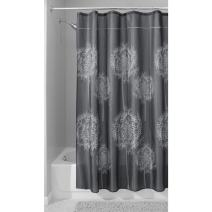 """iDesign Dandelion Fabric Shower Curtain Water-Repellent and Mold- and Mildew-Resistant for Master, Guest, Kids', College Dorm Bathroom, 72"""" x 72"""", Charcoal Gray"""