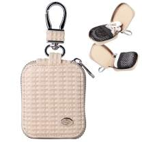 MRPLUM Earbud Carrying Case Small Compatible with AirPods PU Leather Hard Portable Earphone Case Protective Storage Pouch Bag with Mesh Pocket & Keychain for Wireless Headphone USB Cable (Beiges)