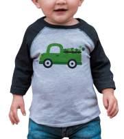 7 ate 9 Apparel Kids Green Truck St. Patricks Day Grey Raglan