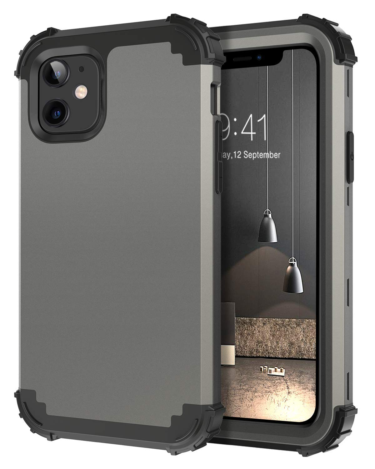 DUEDUE iPhone 11 Case, Shockproof Heavy Duty Rugged Drop Protection 3 in 1 Hybrid Hard PC Covers Soft Silicone Bumper Full Body Protective Case for iPhone 11 6.1 inch(2019), Gunmetal