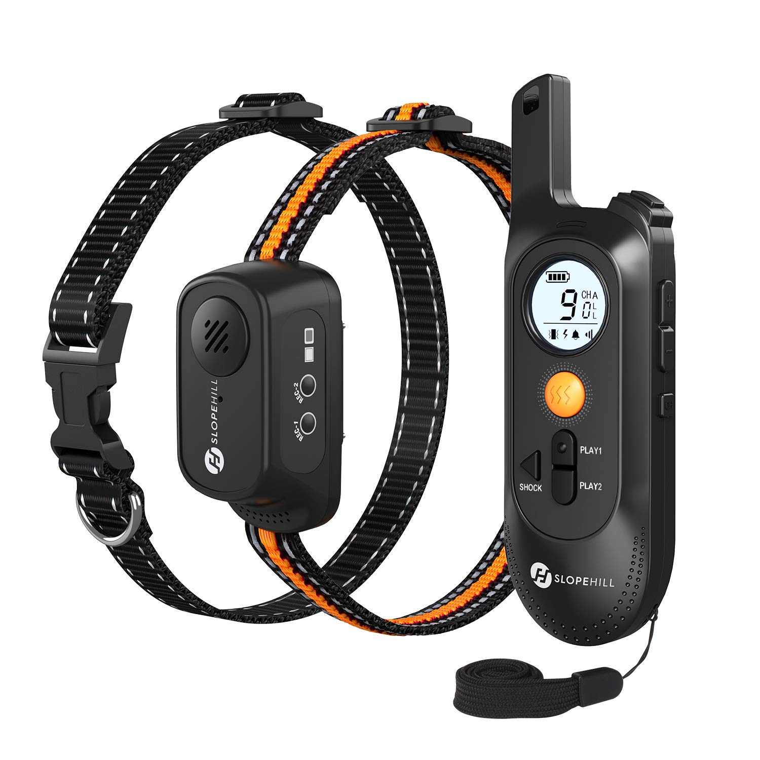 Slopehill Shock Collars for Dogs with Remote, Dog Training Collar with Voice Commands, Beep, Vibration Modes, Rechargeable Rainproof Adjustable Electric Dog Bark Collar for Large Medium Small Dogs