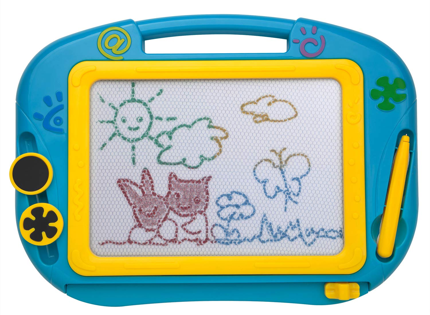 ikidsislands IKS88B [Travel Size] Color Magnetic Drawing Board for Kids, Doodle Board for Toddlers, Sketch Pad Toy for Little Boys (Blue)