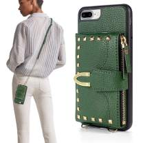 iPhone 7 Plus Wallet Case, ZVE iPhone 8 Plus Credit Card Holder Case with Wallet Rivet Design Crossbody Handbag Purse Wrist Strap Protective Case Cover for Apple iPhone 7 Plus, 5.5 inch - Dark Green