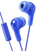 BLUE GUMY In ear earbuds with stay fit ear tips and MIC.  Wired 3.3ft colored cord cable with headphone jack.  Small, medium, and large ear tip earpieces included.  JVC GUMY HAFX7MA