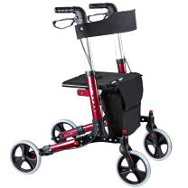 Cocold Rollator Walker, Walkers for Seniors Four Wheels Stand Up Folding Walker Rolling Mobility Walking Aid Rollator with Seat and Wheels Backrest and Aluminum Frame for Seniors and Adults, Red